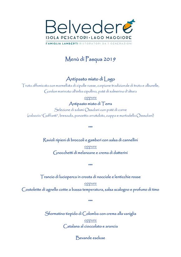 Pasqua menu 2019 Isola Pescatori Lago Maggiore